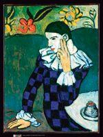 <i>Arlequin assis</i>, Picasso, 1901. Crédits: The Metropolitan Museum of Art/Art Resource/Scala, Florence/Succession Picasso/Courtauld gallery