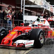 La Ferrari de Sebastian Vettel munie de ses capteurs aérodynamiques