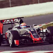 Romain Grosjean au volant de la toute nouvelle Haas