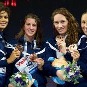 Camille Muffat, Charlotte Bonnet, Mylène Lazare et Coralie Balmy ont permis au relais 4x200 de finir 3e