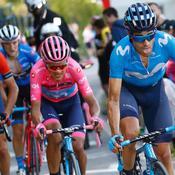 Mikel Landa, Richard Carapaz et Antonio Nibali lors de l'étape du jour.