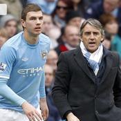 Edin Dzeko Roberto Mancini Manchester City