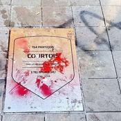 La plaque en l'honneur de Thibaut Courtois au stade de l'Atletico Madrid vandalisée