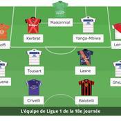 Ligue 1: l'équipe type de la 18e journée