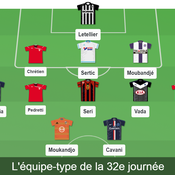 Ligue 1: l'équipe type de la 32e journée