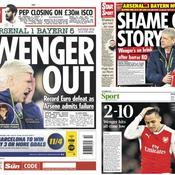 Après l'élimination d'Arsenal face au Bayern en Ligue des champions, la presse anglais s'en est donnée à cœur joie sur Arsène Wenger