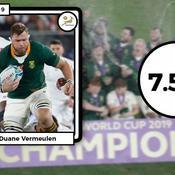 Les notes des champions du monde sud-africains : des piliers fracassants, Vermeulen le bulldozer