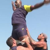 Teddy Riner à l'entraînement avec les rugbymen de Clermont