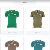 Les maillots de l'Irlande