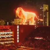 Un club argentin inaugure son stade avec l'hologramme d'un lion en feu géant