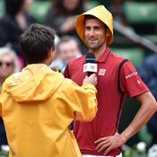 Novak Djokovic au micro de Fabrice Santoro.