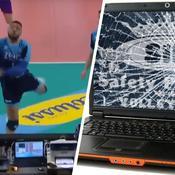 Ngapeth sauve magistralement un ballon perdu…et explose un ordinateur
