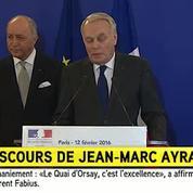 Jean-Marc Ayrault encense le bilan de Laurent Fabius au Quai d'Orsay