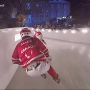 La course acrobatique de patins à glace a un nom: l'ice cross, et c'est assez dangereux