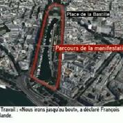 Manifestation du 23 juin : préparatifs sur la place de la Bastille