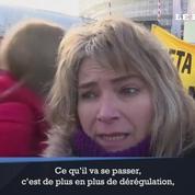 Les opposants au CETA manifestent devant le Parlement européen
