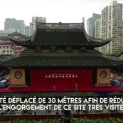 En Chine, un temple de 2.000 tonnes déplacé sur 30 mètres