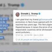 «Gilets jaunes» : Trump fait la leçon à Macron sur Twitter