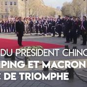Xi Jinping accueilli par Emmanuel Macron sous l'Arc de Triomphe