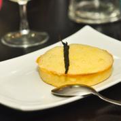 Tarte au fromage blanc, écume de mandarine