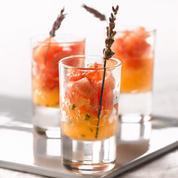 Verrines de salade de pastèque et granité de melon