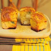 Cakes au curry, poireaux et Saint-Jacques