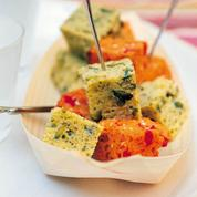 Cakes poivron-tomate et pistou-pistache