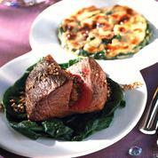 Cœur de rumsteck, gratin d'épinards et champignons
