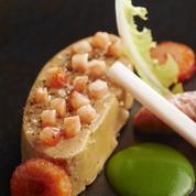 Foie gras de canard, fraise et rhubarbe