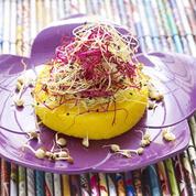 Galettes de polenta aux pousses de légumes