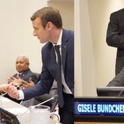 Gisele Bündchen et Emmanuel Macron, la poignée de main qui fait jaser