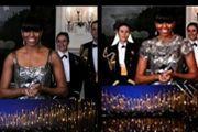 À gauche, l'image non retouchée sur CBS New, à droite telle qu'elle apparaissait en Iran. (CBS/Fars)