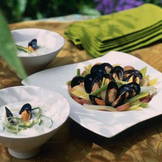 recette salade de moules poireaux et pommes de terre cuisine madame figaro. Black Bedroom Furniture Sets. Home Design Ideas