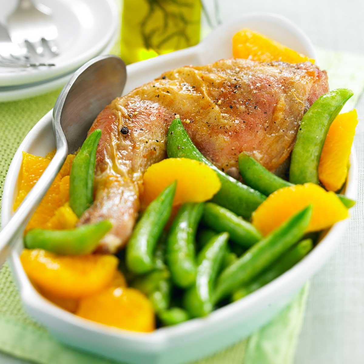 Recette cuisses de poulet marin es l 39 orange et pois - Cuisse de poulet calories ...