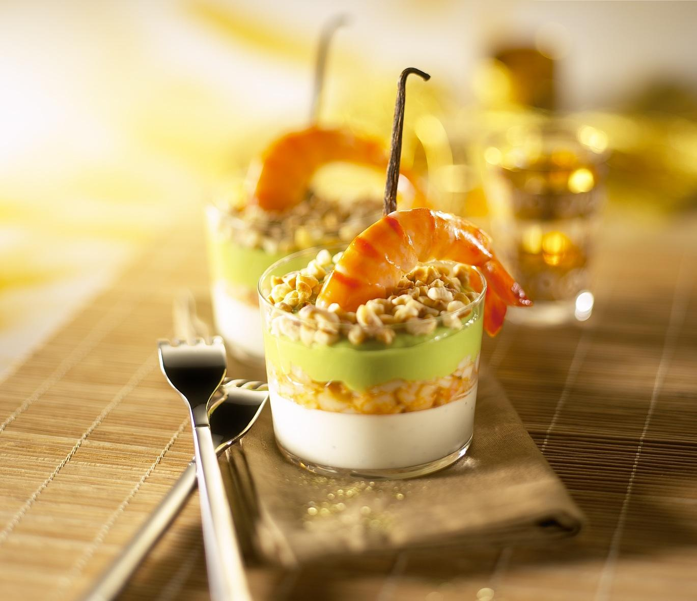Recette verrines de crevettes la vanille cuisine for Entree gastronomique originale