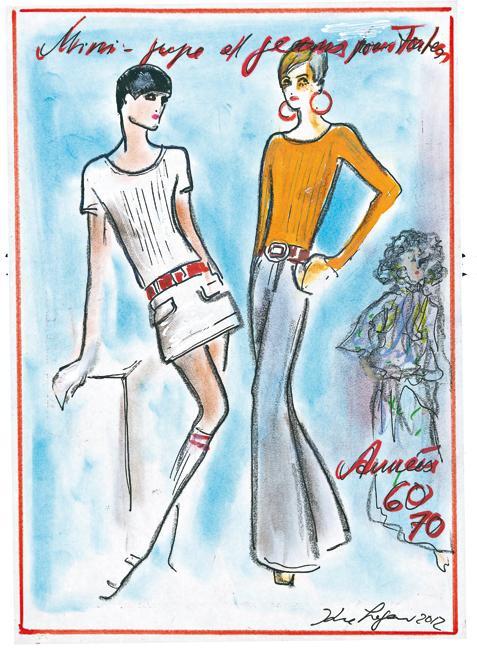 Histoire de la mode par karl lagerfeld madame figaro - Dessin annee 60 ...