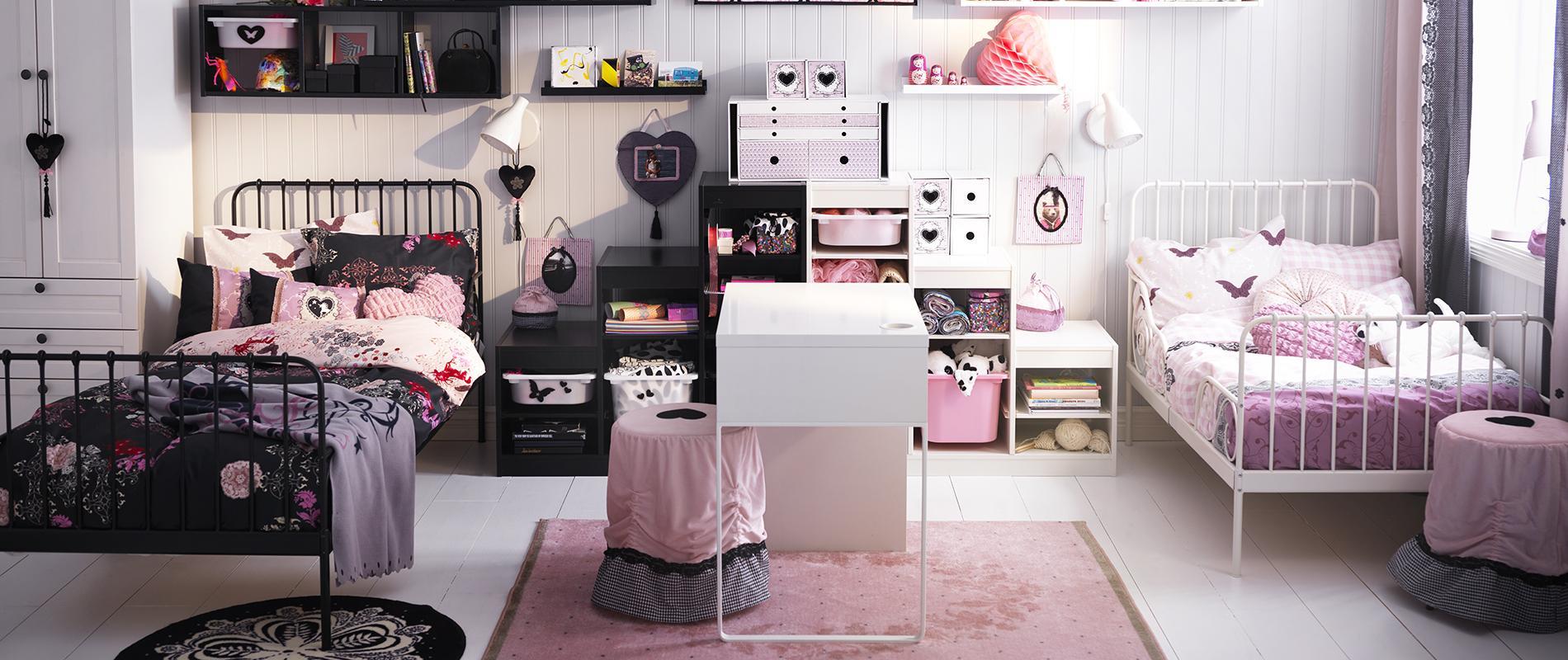Une chambre pour deux mais chacun son espace madame figaro - Chambre de fille ikea ...