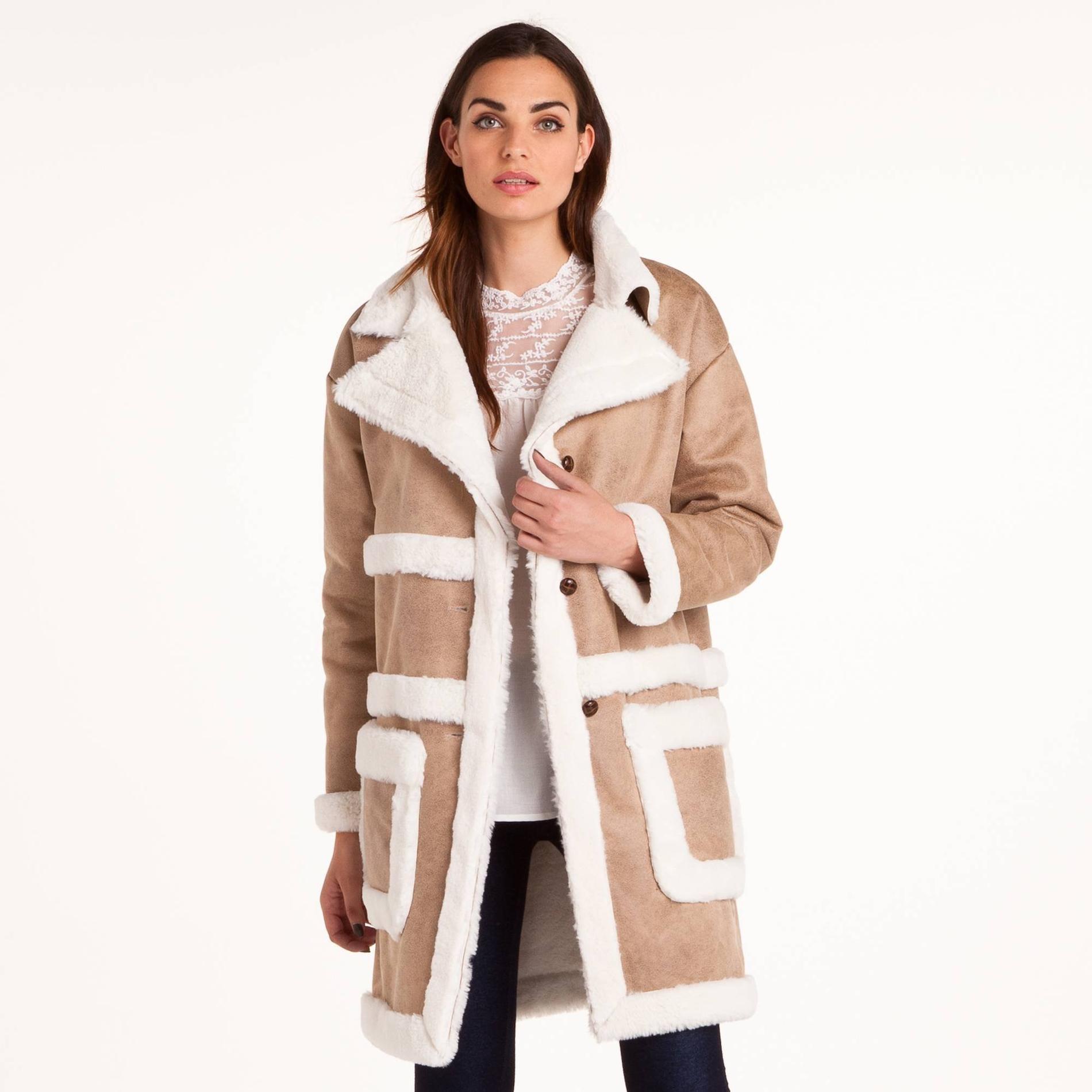 Manteau imitation mouton retourne femme - Nettoyer peau de mouton ...