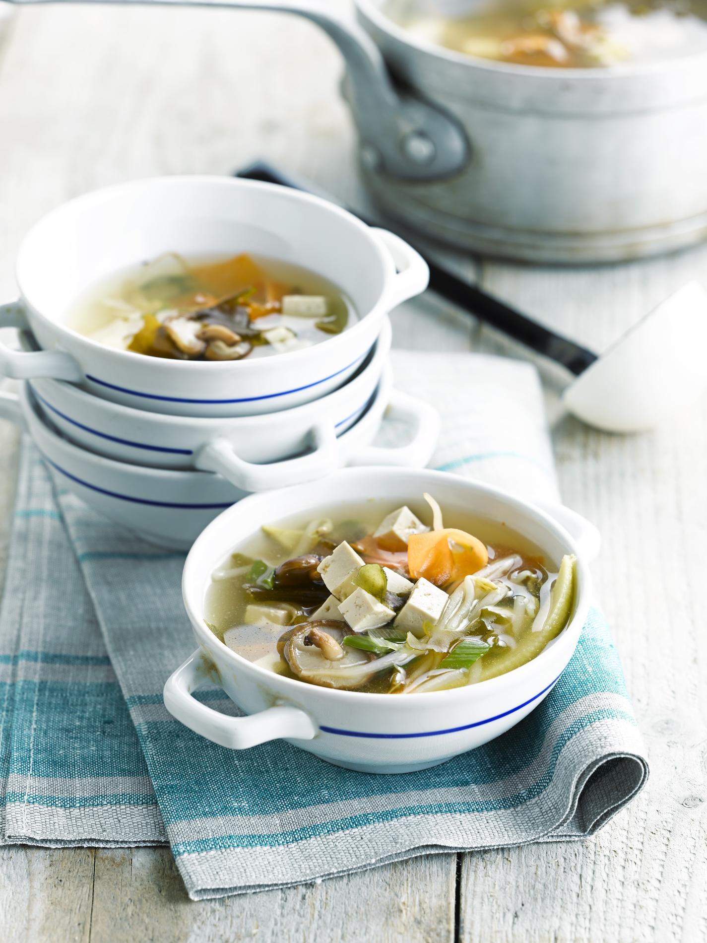 Recette soupe miso au tofu shiitake algues kombu et - Soupe miso ingredient ...