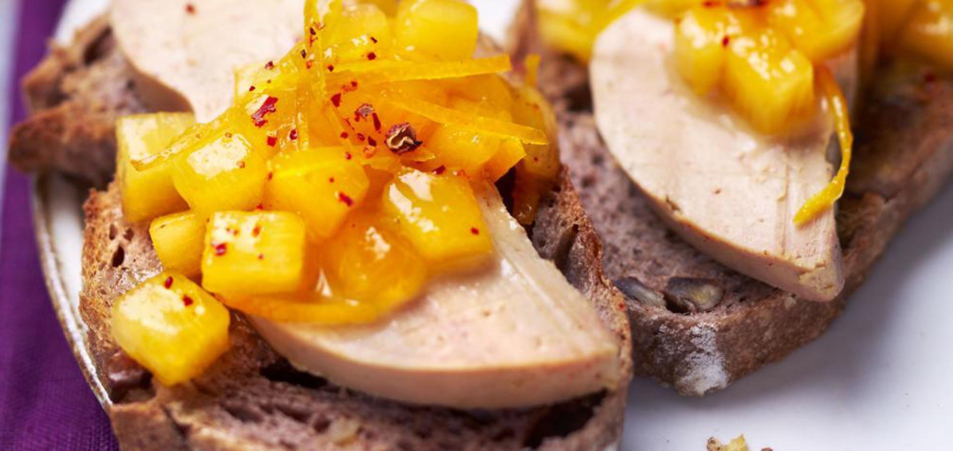 recette tartine au foie gras et kakis cuisine madame. Black Bedroom Furniture Sets. Home Design Ideas