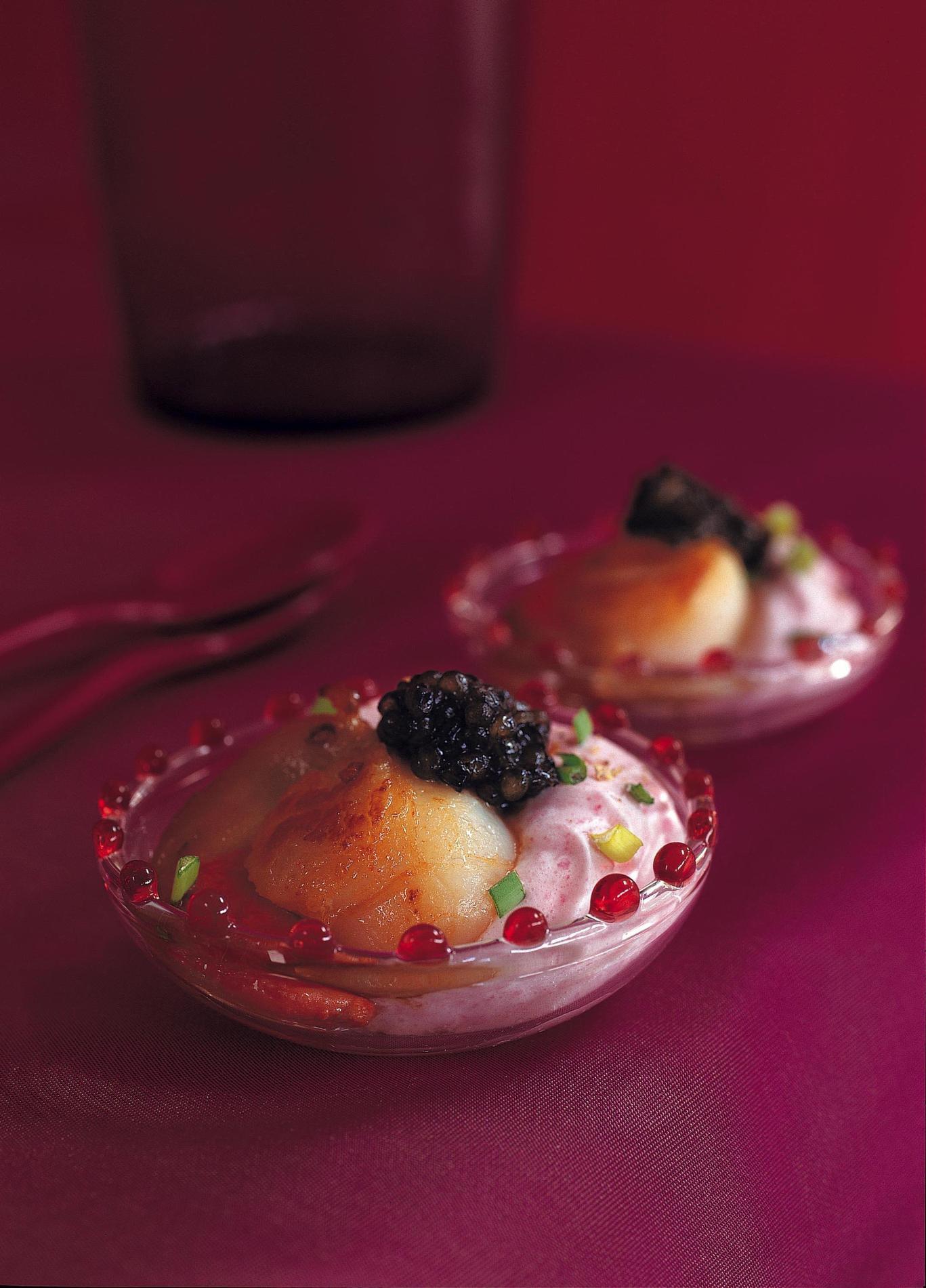 Recette coupe de saint jacques betterave et caviar cuisine - Amuse bouche nouvel an ...