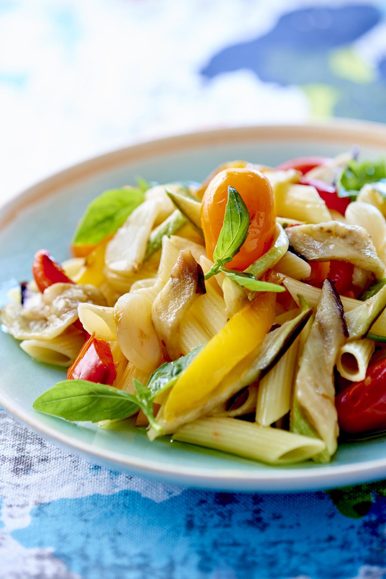 La recette des pâtes aux légumes.