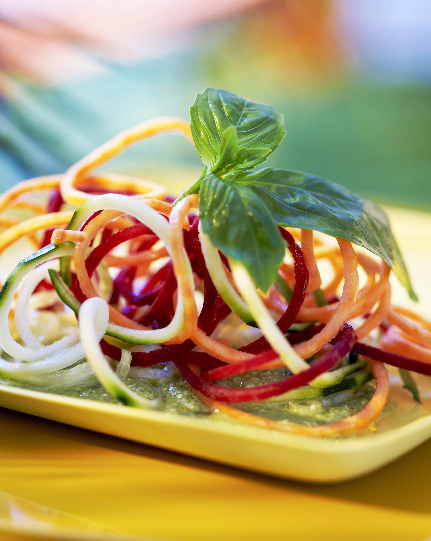 recette spaghettis de l gumes multicolores cuisine. Black Bedroom Furniture Sets. Home Design Ideas