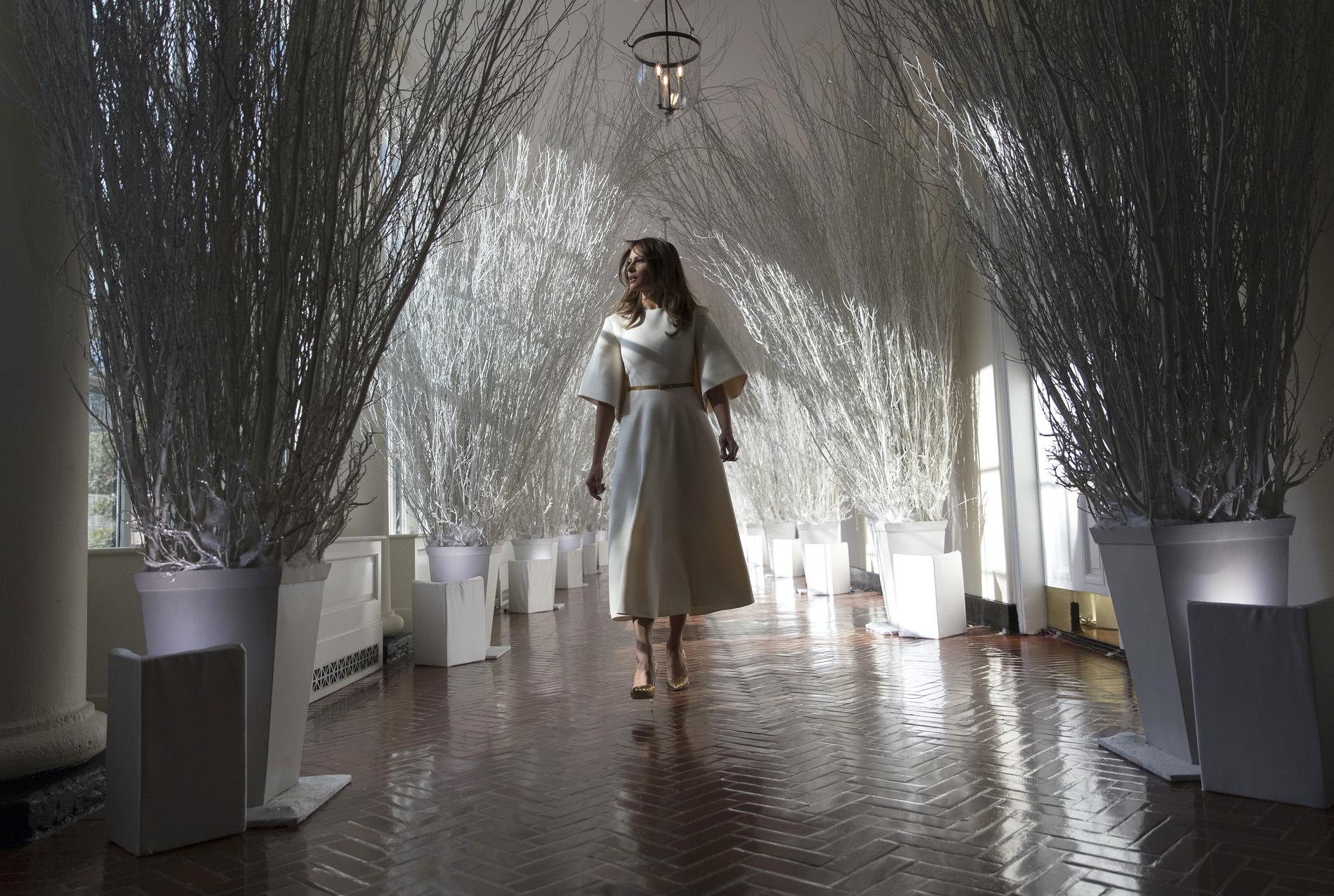 Alice au pays de Shining ? Non, Melania Trump dans sa forêt noire et blanche.  (Maison,Blanche, 27 novembre 2017.)