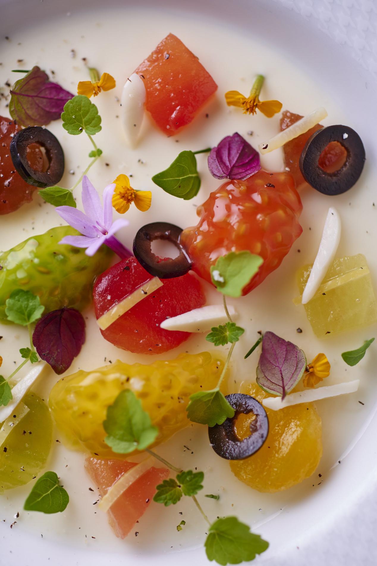 Recette tomates multicolores et gel e de burrata cuisine for Entree froide sympa