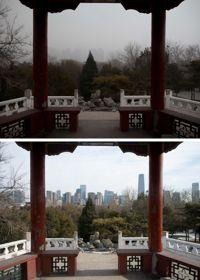 La photo du haut a été prise à Pékin pendant l'épisode de forte pollution. En comparaison, celle du bas, prise au même endroit, sans la pollution.