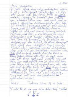 La lettre adressée au journaliste de Die Zeit et écrite par une petite fille de «9 ans 1/2».