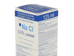 Chlorure de sodium lavoisier 0,9 %, solution injectable, boîte de 1 flacon (verre) de 125 ml