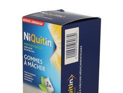 Niquitin menthe fraiche 2 mg sans sucre, gomme à mâcher médicamenteuse édulcorée au sorbitol et au xylitol, boîte de 96