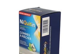 Niquitin menthe fraiche 4 mg sans sucre, gomme à mâcher médicamenteuse édulcorée au sorbitol et au xylitol, boîte de 96